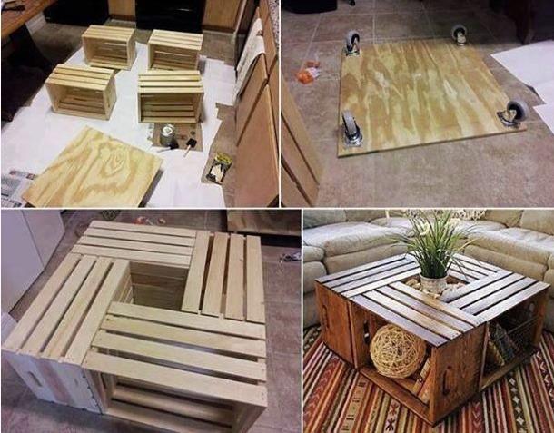 Mesa de centro con cajas de frutas de madera
