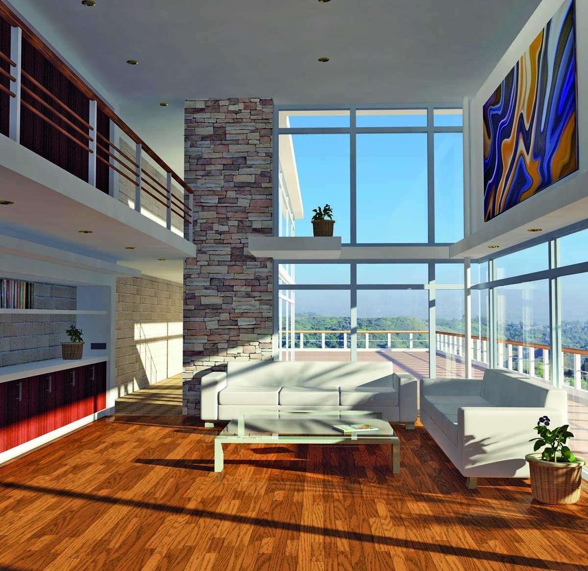 salon con ventanas y terraza