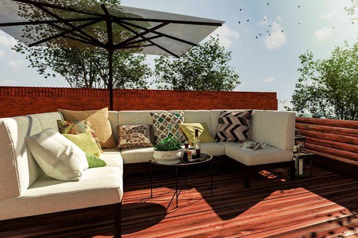 decoración madera terraza chill out